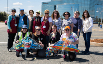 Autism Alliance staff at kite day on Bose Mountain